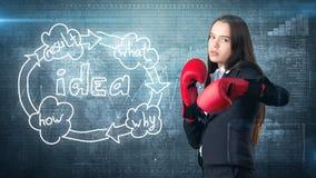 Kreatives Ideenkonzept, boxende Geschäftsfrau, die auf Kampfhaltung auf gemaltem Hintergrund nahe Organisationsdiagramm der Idee  Stockbilder