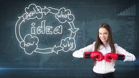 Kreatives Ideenkonzept, boxende Geschäftsfrau, die auf Kampfhaltung auf gemaltem Hintergrund nahe Organisationsdiagramm der Idee  Stockfoto