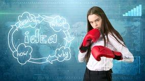 Kreatives Ideenkonzept, boxende Geschäftsfrau, die auf Kampfhaltung auf gemaltem Hintergrund nahe Organisationsdiagramm der Idee  Stockfotos