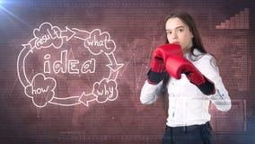 Kreatives Ideenkonzept, boxende Geschäftsfrau, die auf Kampfhaltung auf gemaltem Hintergrund nahe Organisationsdiagramm der Idee  Stockfotografie