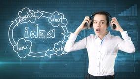Kreatives Ideenkonzept, hörender Kopfhörer der schönen Geschäftsfrau auf gemaltem Hintergrund nahe Organisationsdiagramm der Idee Stockfoto
