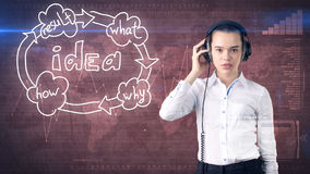 Kreatives Ideenkonzept, hörender Kopfhörer der schönen Geschäftsfrau auf gemaltem Hintergrund nahe Organisationsdiagramm der Idee Lizenzfreies Stockbild