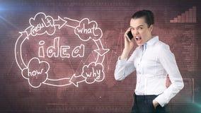 Kreatives Ideenkonzept, sadbusinesswoman, das am Telefon auf gemaltem Hintergrund nahe Organisationsdiagramm der Idee schreit Stockfoto