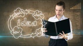 Kreatives Ideenkonzept, schöne Geschäftsfrau, die Bericht über gemalten Hintergrund nahe Organisationsdiagramm der Idee hält Stockbild