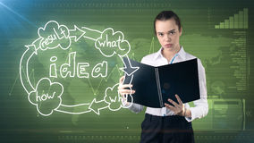 Kreatives Ideenkonzept, schöne Geschäftsfrau, die Bericht über gemalten Hintergrund nahe Organisationsdiagramm der Idee hält Lizenzfreies Stockfoto
