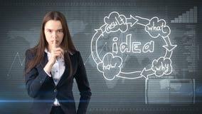 Kreatives Ideenkonzept, schöne Geschäftsfrau, die Stillezeichen auf gemaltem Hintergrund nahe Organisationsdiagramm der Idee zeig Lizenzfreie Stockfotografie