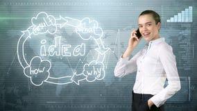 Kreatives Ideenkonzept, schöne Geschäftsfrau, die am Telefon auf gemaltem Hintergrund nahe Organisationsdiagramm der Idee spricht Stockbild