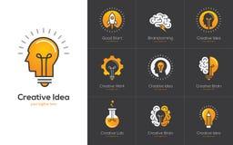 Kreatives Ideenlogo stellte mit menschlichem Kopf, Gehirn, Glühlampe ein
