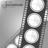 Kreatives Kino-Hintergrund-Design Einkaufsumbauten und -ikonen Minimale lokalisierte Film-Illustration EPS10 Lizenzfreies Stockbild