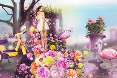 Kreatives Konzept Anstrich mit farbiger Kreidekerze Frau und Blumen Stockfotografie