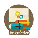 Kreatives Konzept mit bunter Schablone des modernen Designs des Bleistifts. seien Sie kreativ vektor abbildung