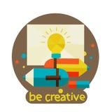 Kreatives Konzept mit bunter Schablone des modernen Designs des Bleistifts. seien Sie kreativ lizenzfreie abbildung