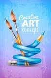 Kreatives Kunstkonzept mit verdrehtem Bleistift und Bürsten für das Zeichnen Stockfoto