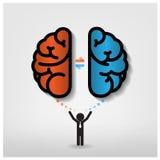 Kreatives linkes und rechtes Gehirn Ideenkonzept backgro Stockfoto