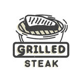 Kreatives Logodesign mit gegrilltem Steak Auch im corel abgehobenen Betrag Vektor Abbildung
