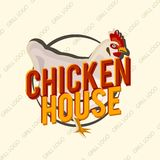 Kreatives Logodesign mit realistischem Huhn Auch im corel abgehobenen Betrag Stock Abbildung