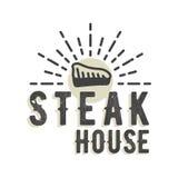 Kreatives Logodesign mit Steak Auch im corel abgehobenen Betrag Stock Abbildung