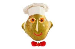 Kreatives Nahrungsmittelkonzept Lustiges Porträt eines Kochs, gemacht von der Birne, f Stockfoto
