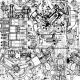 Kreatives nahtloses Muster bildete von den alten Motoren der Zeichnungen vektor abbildung