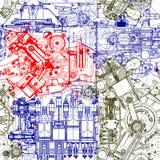 Kreatives nahtloses Muster bildete von den alten Motoren der Zeichnungen lizenzfreie abbildung