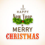 Kreatives Plakat des guten Rutsch ins Neue Jahr und der fröhlichen Weihnachtsfeier Stockbild