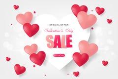 Kreatives Plakat-, Fahnen- oder Fliegerdesign des Verkaufs Glücklicher Valentinsgruß Lizenzfreies Stockfoto