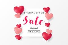 Kreatives Plakat-, Fahnen- oder Fliegerdesign des Verkaufs Glücklicher Valentinsgruß Stockfoto