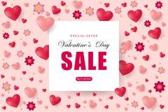 Kreatives Plakat-, Fahnen- oder Fliegerdesign des Verkaufs Glücklicher Valentinsgruß Stockbild