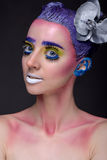 Kreatives Porträt der Frau mit Kunstmake-up Lizenzfreies Stockbild