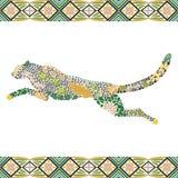 Kreatives Pumamuster gemacht von den Blumen, Blätter Lizenzfreie Stockfotos