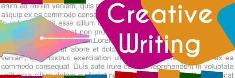Kreatives Schreibens-bunte Fahne Stockfotografie