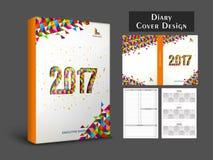 Kreatives Tagebuch-Abdeckungsdesign für 2017 Stockfotografie