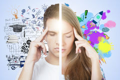 Kreatives und anlytical denkendes Konzept Stockfotografie