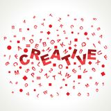 Kreatives Wort mit in Alphabeten stock abbildung