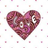 Kreatives zentangle Herz mit Text Liebe Valentinsgrußtagesnette Karte Vektorkunst für Feiertag Stockbild