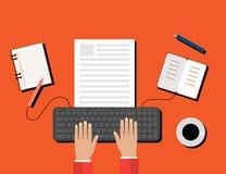 Kreatives zufriedenes Schreiben, Blogging Beitrag, Digital-Medien-flache Illustration Stockbilder