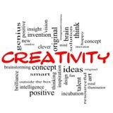 Kreativität-Wort-Wolken-Konzept-rotes Schwarzes Lizenzfreie Stockfotos