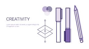 Kreativitäts-Geschäfts-Konzept-Prozess der kreativen Entwicklungs-Netz-Fahne mit Kopien-Raum vektor abbildung