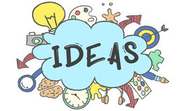 Kreativitäts-Ideen-Design-Gedanken-Blasen-Ikonen-Konzept Lizenzfreies Stockfoto