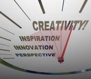 Kreativitäts-Innovations-Fantasie-Geschwindigkeitsmesser-neue Ideen Lizenzfreie Stockfotografie