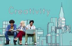 Kreativitäts-Konstruktionszeichnungs-Ideen-Stadtbild-Konzept stockbild