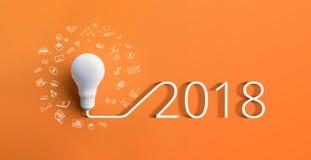 Kreativitätsinspirationskonzepte 2018 mit Glühlampe Stockfoto