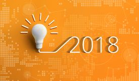 Kreativitätsinspirationskonzepte 2018 mit Glühlampe Stockbilder