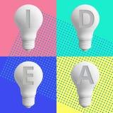 Kreativitätsinspirationskonzepte 2019 mit Glühlampe auf Pastellfarbhintergrund Geschäftslösung, Planungsideen vektor abbildung