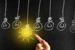 Kreativitätskonzept für gute Ideen auf der Tafelinspiration conc Stockfoto