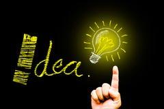 Kreativitätskonzept für gute Ideen auf der Tafelinspiration conc Stockbilder
