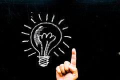 Kreativitätskonzept für gute Ideen auf der Tafelinspiration conc Lizenzfreie Stockfotos