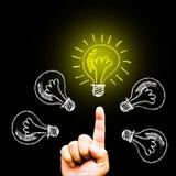 Kreativitätskonzept für gute Ideen auf der Tafelinspiration conc Stockfotos