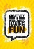 Kreativitet är intelligens som har gyckel För motivationcitationstecken för berömd inspirerande typografi idérik mall för affisch vektor illustrationer