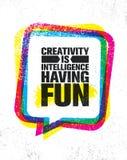 Kreativitet är intelligens som har gyckel För motivationcitationstecken för berömd inspirerande typografi idérik mall för affisch royaltyfri illustrationer